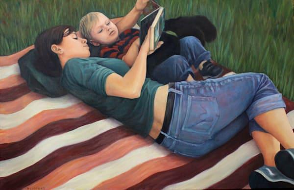 Reading On A Blanket Art | Lidfors Art Studio