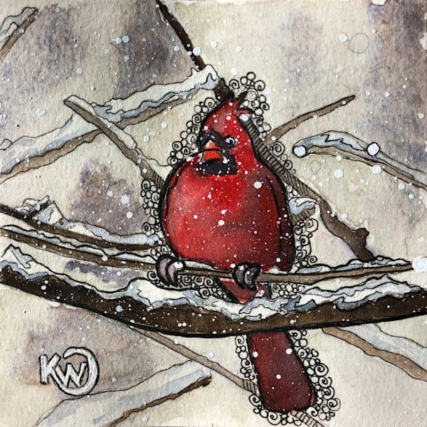 Pudgy Cardinal Original Art   Water+Ink Studios