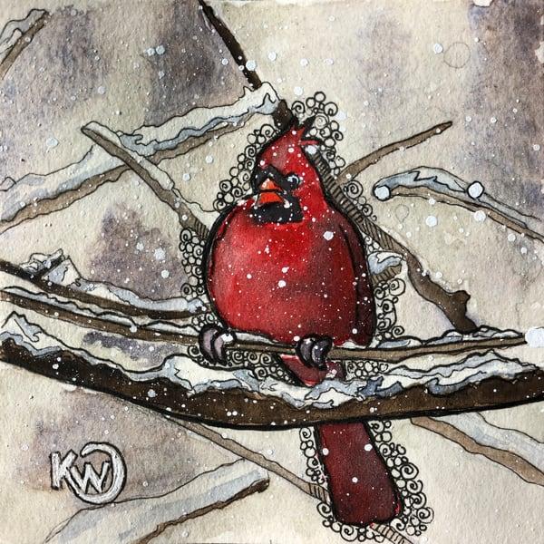 Pudgy Cardinal Art   Water+Ink Studios
