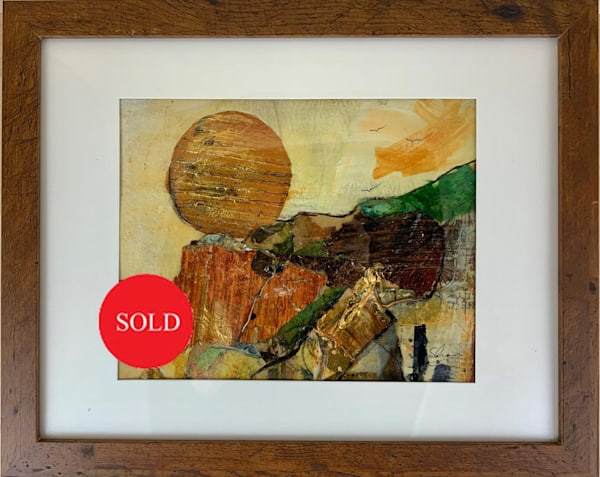 Mixed media abstract landscape orange gold brown black yellow, art, fine art