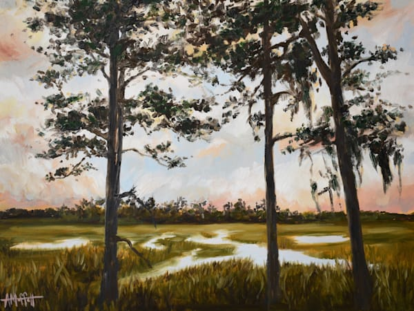 "Giclee Print ""Pine Trees on a Coastal Marsh""- by April Moffatt"