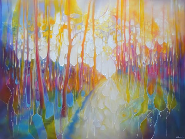 large oil painting of a rainbow-coloured woodland path with a small deer watching from the trees