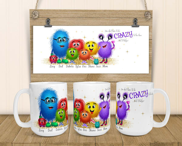 Crazy Monster Family and Matching Coaster