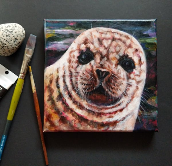 Harbour seal wildlife painting by Lesley McVicar