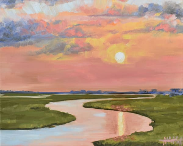 Giclee Print Glassy Waters on the Marsh Landscape by April Moffatt