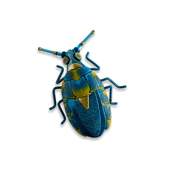 Large Turquoise Blue Beetle Pin | smalljoysstudio