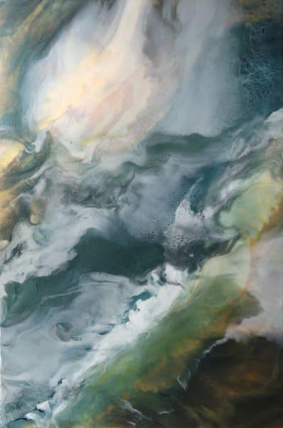 Green & Peach Waves Fine Art