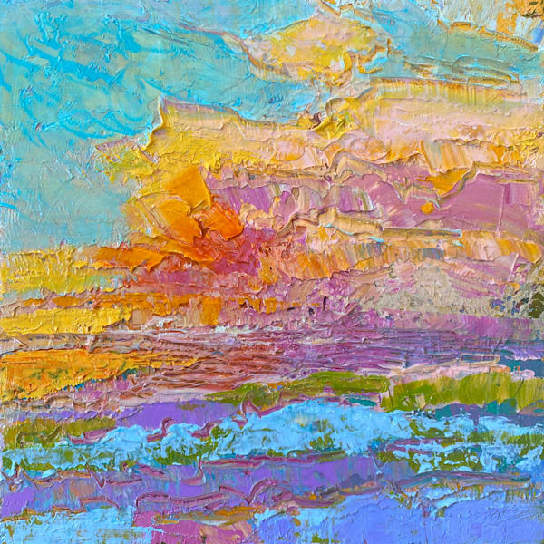 Small Sunset Painting, Original Art by Dorothy Fagan