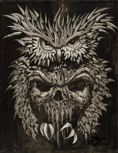 Owl and Skull Print