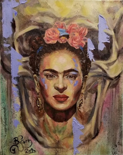 Frida Kahlo and Skull Oil Portrait