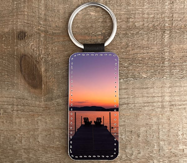 Adk Chairs Warm Sunset Rectangle Shape Keychain | Kurt Gardner Photogarphy Gallery