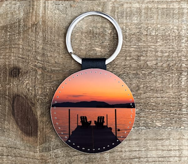 Adk Chair Warm Sunset Circle Keychain | Kurt Gardner Photogarphy
