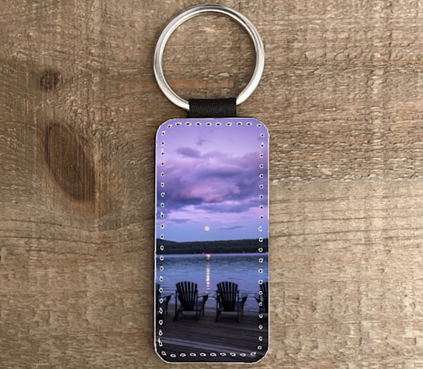 Full Moon Purple Sunset  Rectangle Keychain | Kurt Gardner Photogarphy