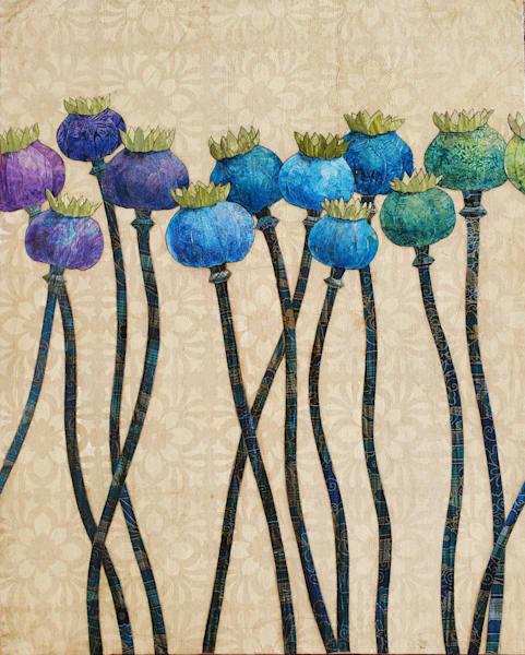Poppy Pods In Harmony Art   Karen Sikie Paper Mosaic Studio