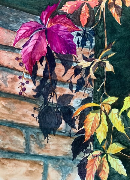 """Vibrant Leaves"" in watercolors by Aprajita Lal"