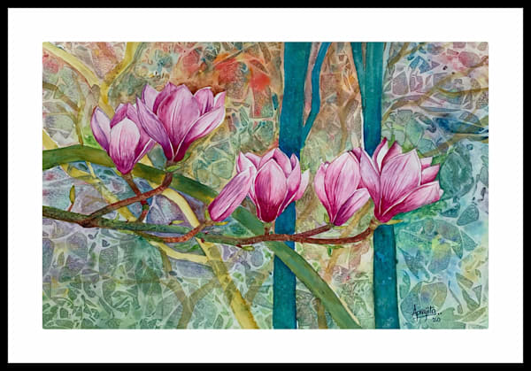"""Pink Magnolias"" in Watercolors by Aprajita Lal"