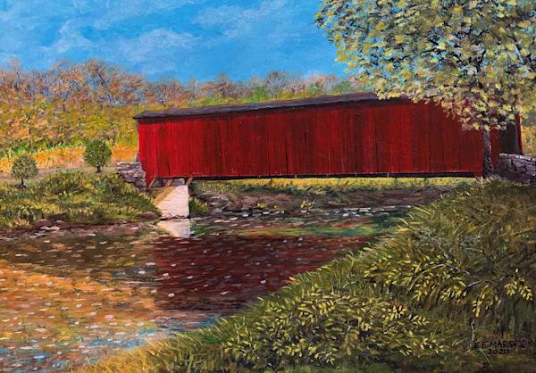 Red Covered Bridge Art   Skip Marsh Art