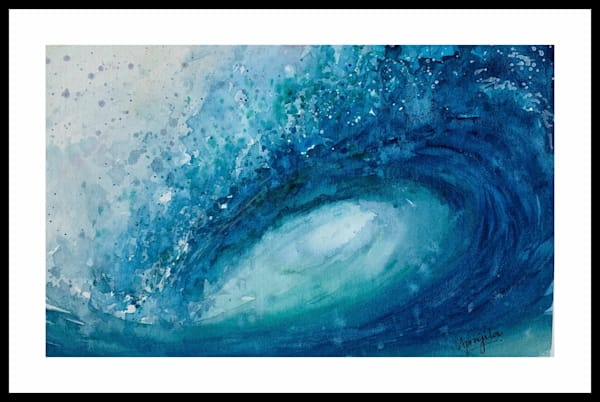 Crashing Waves-1 in watercolors by Aprajita Lal