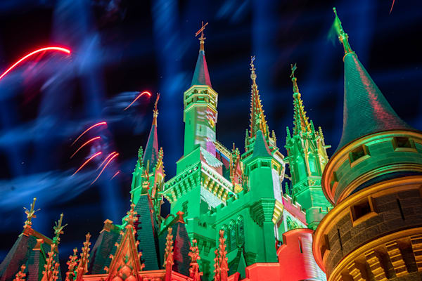 Christmas Spires And Fireworks Photography Art | William Drew Photography