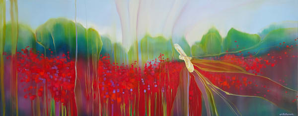 wide painting of a pale white barn owl flying across a field of red poppies at twilight