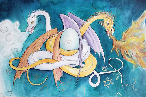 Fire and Ice dragons art print