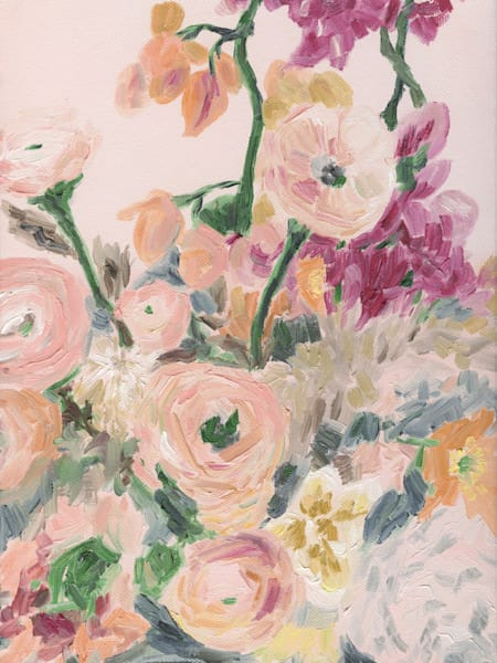 Giclee Print Peach Floral by April Moffatt