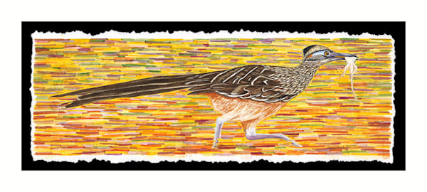 Fine art reproduction of original Roadrunner with Lizard painting by Judy Boyd watercolors.