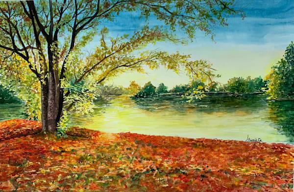 """Autumn Glow"" in Watercolors by Aprajita Lal (Original 18x12)"