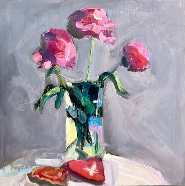 """Still Life with Pink Peony Trio and Heart Cookies"" expressionist-impressionist romantic still life oil painting by Monique Sarkessian."