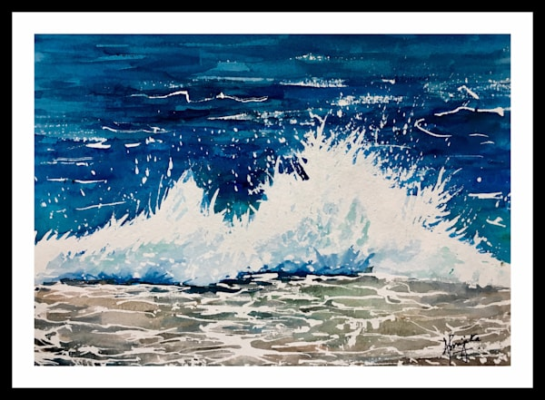"""Crashing Waves-2"" in Watercolors by Aprajita Lal"