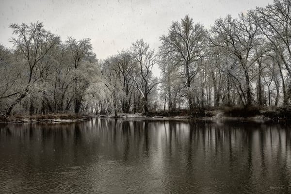 Snowy Spring River In Black And White  9080 Art | Koral Martin Fine Art Photography