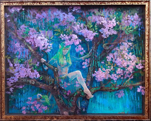 Cherry tree nymph original painting
