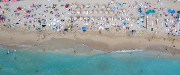 aerial beaches, aerial umbrellas, drone top down beaches, Hawaii beaches