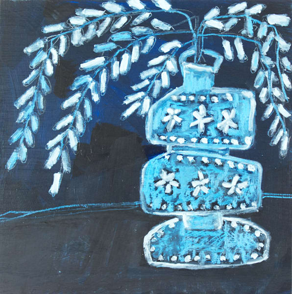 Venetian Blue Glass With Ferns Art | staciswider