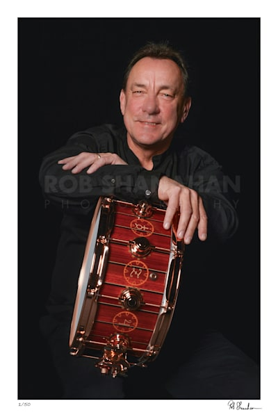 Neil Peart Time Machine DW Drums Icon snare drum photographed by Rob Shanahan
