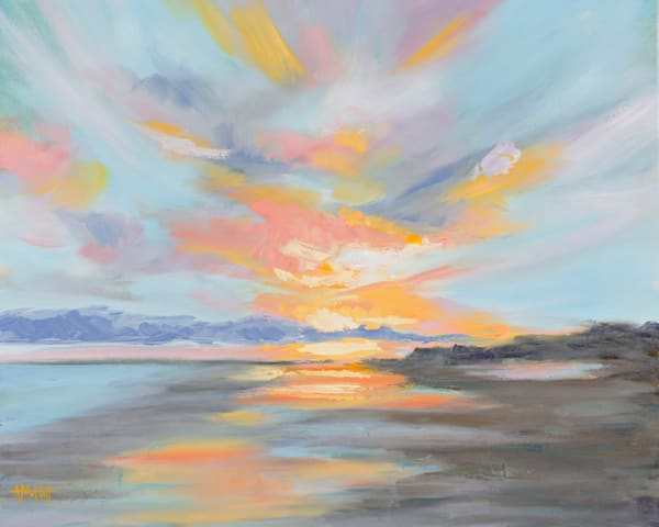 Giclee Print Pastel Clouds at Folly Beach - Landscape by April Moffatt