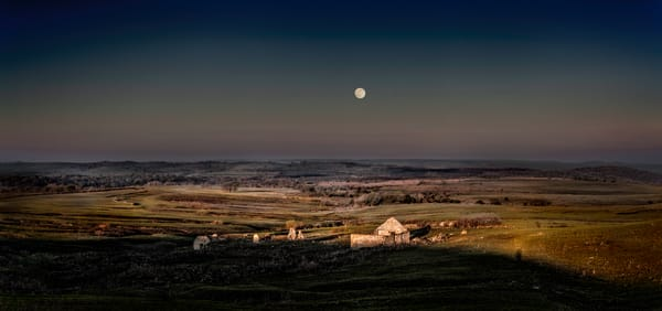 Americana-color. The Olson Place, Morning Moonset. A fine art, color photograph by fine art photographer, David Zlotky
