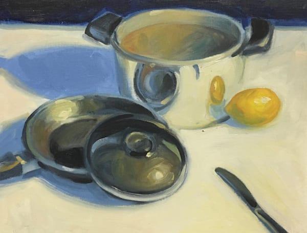 Silver Pot With Lemon Art   sheldongreenberg