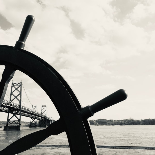 A Unique View of the I-74 Bridge from Leach Park Boat Landing