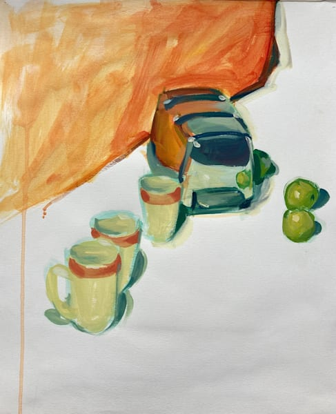Reflections In Orange And Green Art   sheldongreenberg