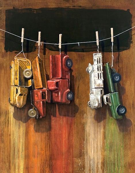 Car Wash | Richard Hall Fine Art | Toy Trucks | color dripping
