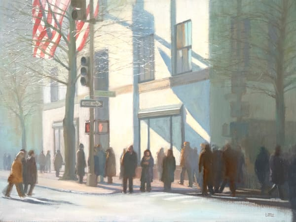 Prints of 'Cold Start' oil painting cityscape by Ed Little, Bridgewater, CT