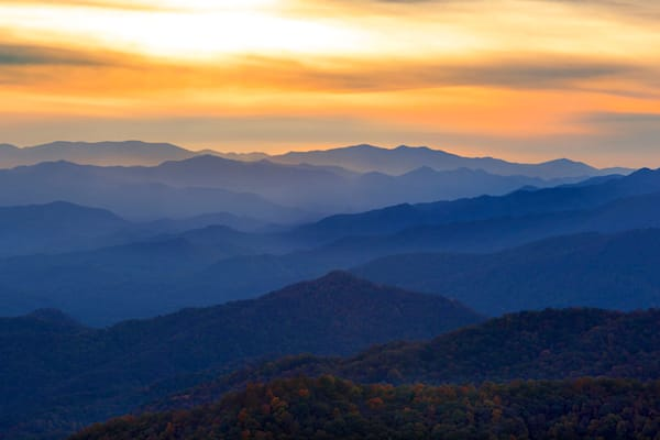 """""""Sunset Over The Smokies"""" fine art photograph by C A Johnson."""