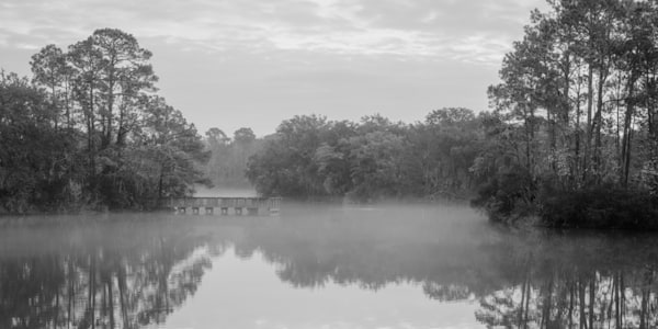 Lake Mary Foggy Morning in Black & White