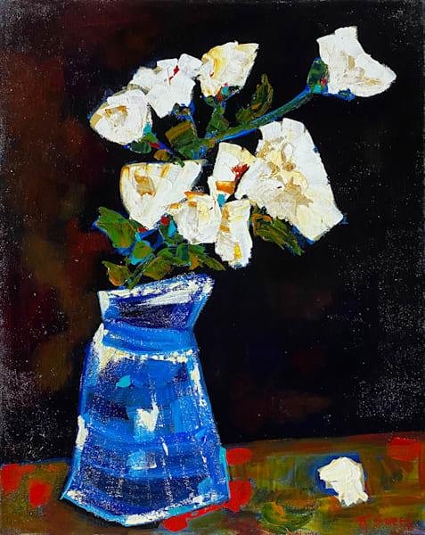 White Flowers And Blue Vase Art   Marissa Sweet
