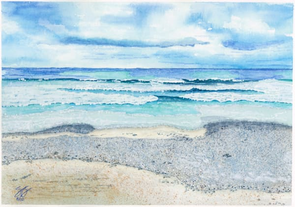 """""""Gloomy Day Beach Waves"""" - Watercolor Painting Reproduction"""