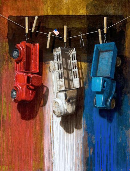American Car Wash, jigsaw puzzle, cars, trucks, red, white, blue