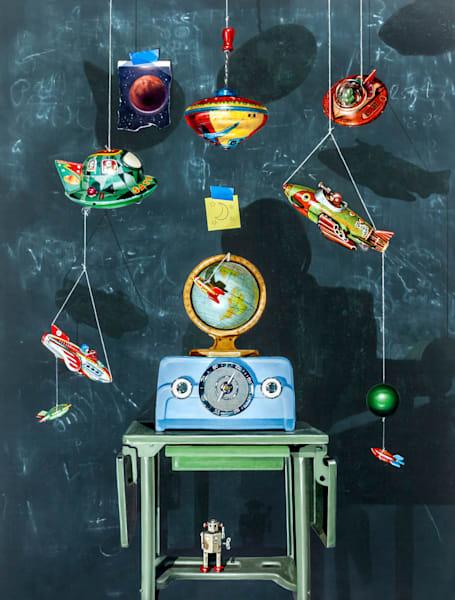 War of the Worlds | space toys | chalkboard | globe | radio | Richard Hall Fine Art