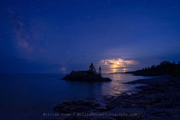 A Thunderstorm And The Milky Way At Hollow Rock   Minnesota Scenic Wall Mural Photography Art | William Drew Photography