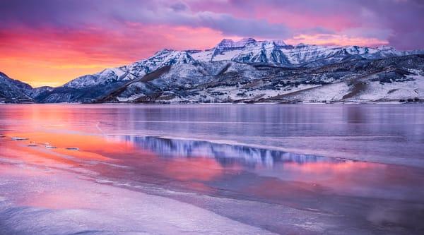 deer creek ice panorama winter sunset